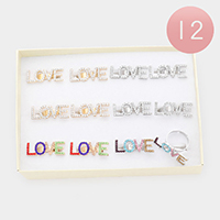 12PCS - LOVE Rhinestone Message Adjustable Rings