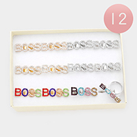 12PCS - BOSS Rhinestone Message Adjustable Rings