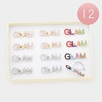 12PCS - GLAM Rhinestone Message Adjustable Rings