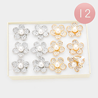 12PCS - Pearl Center Rhinestone Embellished Flower Assorted Size Rings
