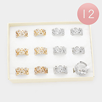 12PCS - Geometric Rhinestone Embellished Assorted Size Rings