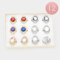 12PCS - Round Stone Center Assorted Size Rings