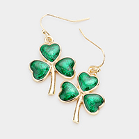 St Patrick's Day Clover Dangle Earrings