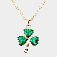 St Patrick's Day Clover Pendant Necklace