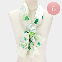 6PCS - Silk Feel Satin Striped Clover Print Scarves