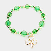 St Patrick's Day Clover Charm Beaded Stretch Bracelet