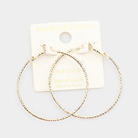 14K Gold Dipped 1.5 Inch Textured Metal Hoop Earrings