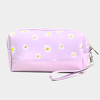 Daisy Flower Print Cosmetic Pouch Bag