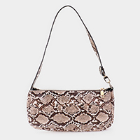 Snake Pattern Faux Leather Shoulder Bag