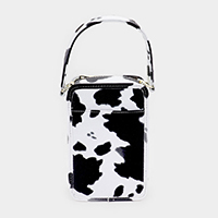 Cow Pattern Faux Leather Crossbody / Tote Bag