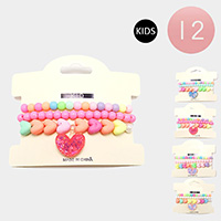 12 Set of 3 - Colorful Bead Heart Charm Kids Stretch Bracelets