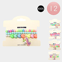 12 Set of 3 - Colorful Heart Bead Unicorn Charm Kids Stretch Bracelets