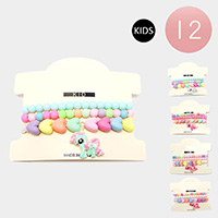 12 Set of 3 - Colorful Heart Bead Pony Charm Kids Stretch Bracelets