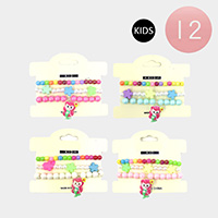 12 Set of 3 - Colorful Flower Bead Mermaid Charm Kids Stretch Bracelets