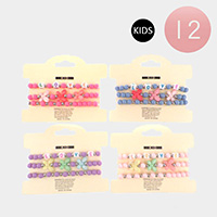 12 Set of 3 - LOVE Colorful Flower Butterfly Bead Kids Stretch Bracelets