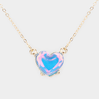 Heart Stone Pendant Necklace