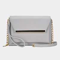 Metal Point Faux Leather Envelope Wallet on Chain Crossbody / Wristlet Clutch Bag