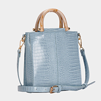 Alligator Pattern Faux Leather Tote / Crossbody Bag