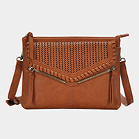 Cut Out Detail Faux Leather Envelope Crossbody / Clutch Bag