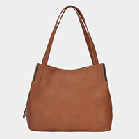 Metal Point Faux Leather Shoulder Bag