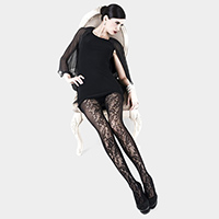 Floral and Vertical Bands Fishnet Tights