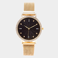 Rhinestone Trim Round Dial Magnetic Metal Band Watch