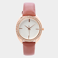 Rhinestone Trim Round Dial Faux Leather Band Watch