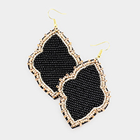 Felt Back Seed Beaded Quatrefoil Dangle Earrings