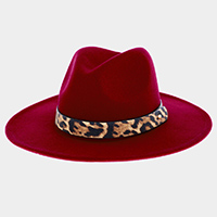 Faux Leather Cheetah Band Rancher Fedora Hat