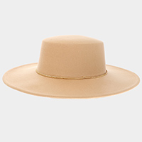Gold Chain Band Wide Brim Panama Hat