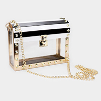 Studded Point Transparent Crossbody / Clutch Bag