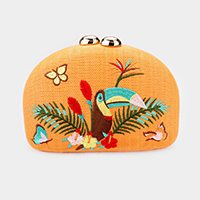 Embroidery Toucan Butterfly Leaf Crossbody / Clutch Bag