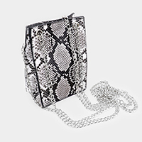 Snake Skin Pattern Faux Leather Crossbody Bag