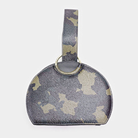 Camouflage Pattern Faux Leather Wristlet Bag
