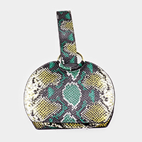 Snake Skin Pattern Faux Leather Wristlet Bag