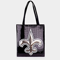 Fleur de Lis Accented Sequin Shoulder Bag
