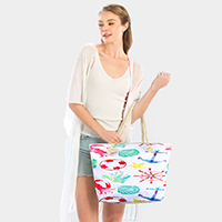 Anchor Shell Starfish Crab Print Beach Tote Bag