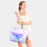 Whale Print Beach Tote Bag