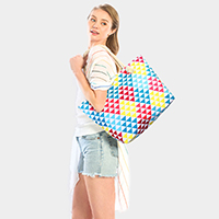 Geometric Print Beach Tote Bag