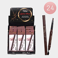 24PCS - Long Lasting Waterproof Dark Brown Eyebrow Pencils