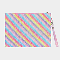 Rainbow Color Lip Pattern Wristlet Clutch Bag