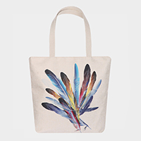 Feather Print Canvas Eco Shopper Bag