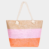 Triple Color Block Beach Tote Bag