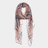 Rainbow Color Detail Plaid Check Oblong Scarf