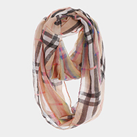 Rainbow Color Detail Plaid Check Square Scarf