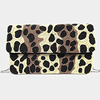 Animal Pattern Seed Beaded Clutch / Crossbody Bag