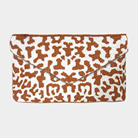 Leopard Pattern Seed Beaded Crossbody / Clutch Bag