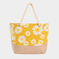 Daisy Flower Pattern Print Tote Bag