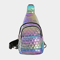 Hologram Faux Leather Sling Bag