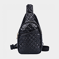 Quilted Faux Leather Sling Bag